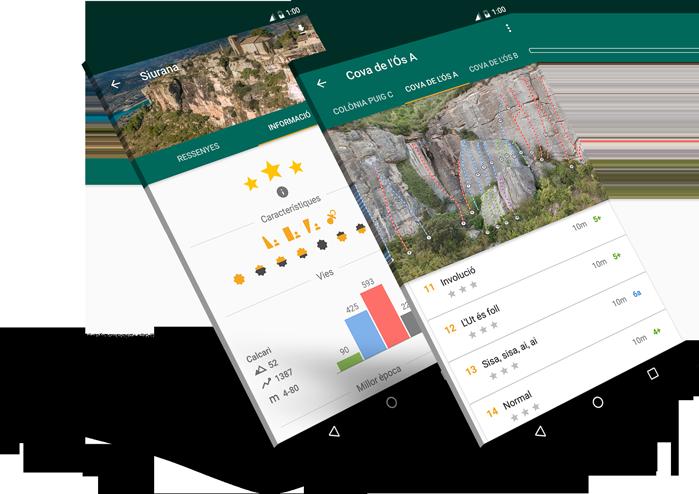 Pantalles de l'app d'escalada de Climb Around.
