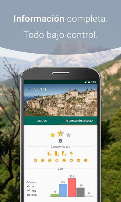 Info escuela de la app de croquis de escalada Climb Around, Siurana.