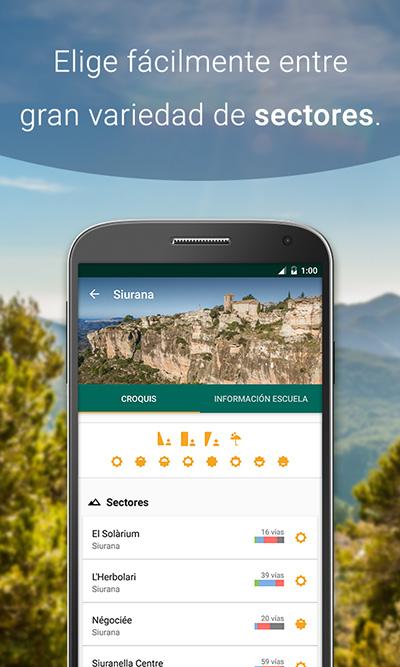 Sectores de la app de croquis de escalada Climb Around, Siurana.