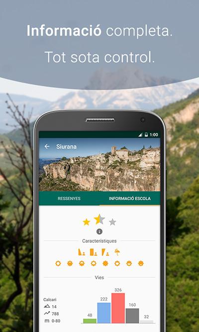 Info escola de l'app de ressenyes d'escalada Climb Around, Siurana.