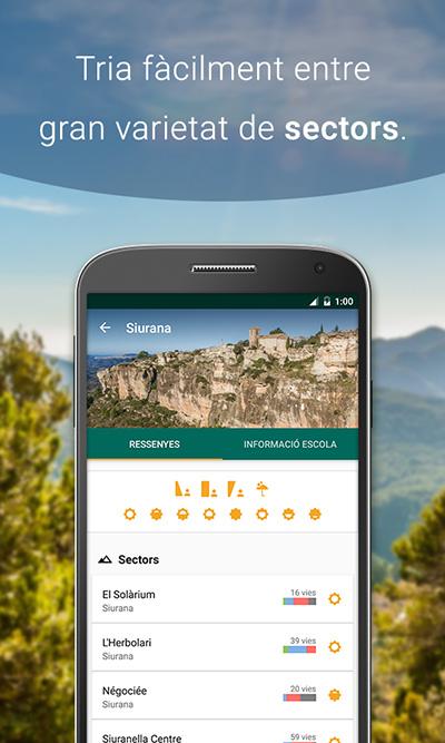 Sectors de l'app de croquis d'escalada Climb Around, Siurana.