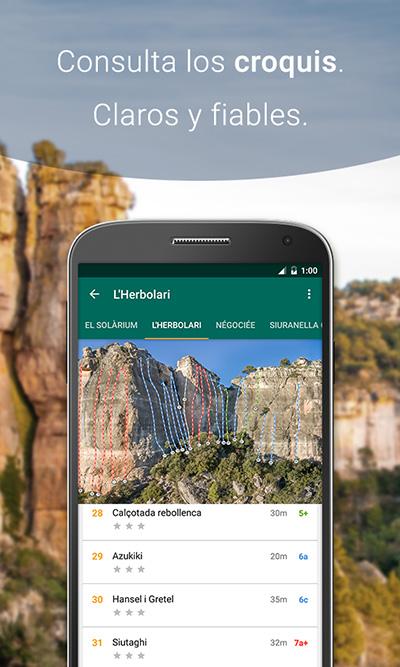 Croquis de la app de escalada Climb Around, Siurana.