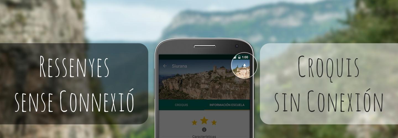 App ressenyes escalada sense connexió.