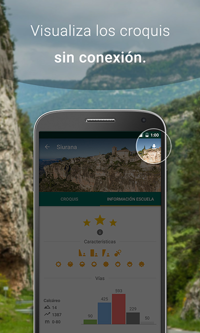 Pantalla de la app para descarga de croquis de escalada sin conexión.
