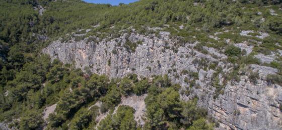 Croquis de escalada en Subirats.