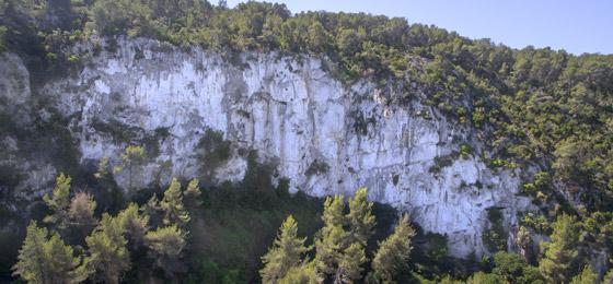 Croquis de escalada en Penyes de Can Marcer.