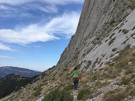 Ricard escalando en el Pedraforca.