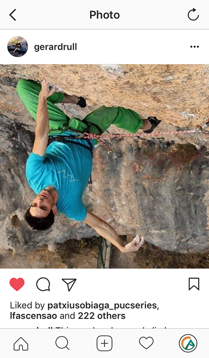 Captura de pantalla del perfil de Gerard Rull, del Fanatic Team de Climb Around en Instagram.