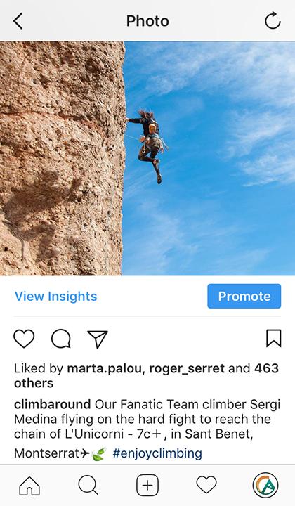 Uso correcto de hashtags en Instagram con ejemplo de Climb Around.