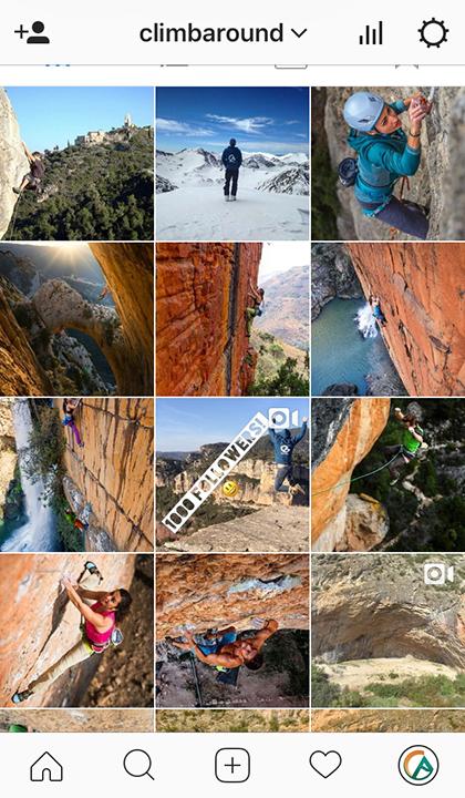 Imágenes del perfil de Instagram de Climb Around.
