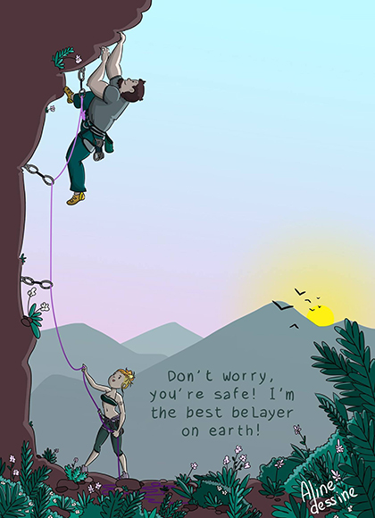 Grandes diferencias de peso pueden provocar un accidente en una caída de escalada.