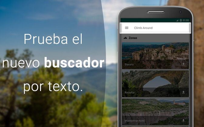 Buscador por texto de la app de escalada Climb Around.