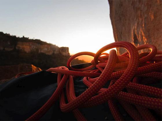 Cuerda para escalada deportiva.