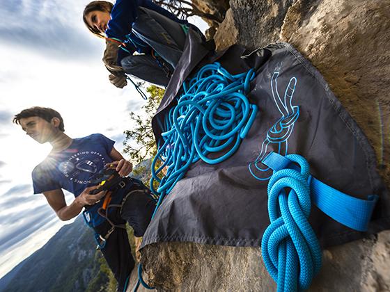 Nudo de seguridad al final de la cuerda de escalada.