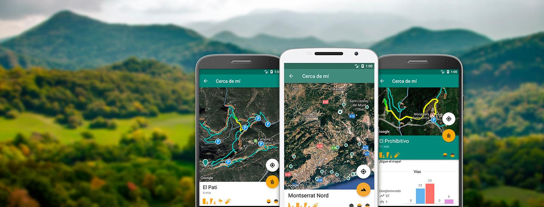 Mapa de zonas y sectores de escalada de la app Climb Around.